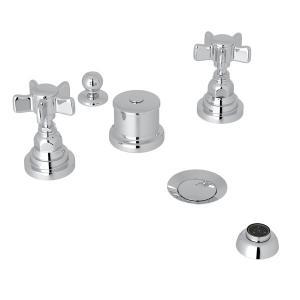 Polished Chrome San Giovanni Five Hole Bidet Faucet with Five Spoke Cross Handle Product Image