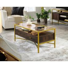 View Product - Contemporary Glass-Top Coffee Table