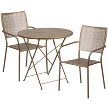 30'' Round Gold Indoor-Outdoor Steel Folding Patio Table Set with 2 Square Back Chairs