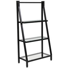 See Details - Glass Bookshelf with Black Metal Frame