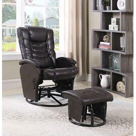 See Details - Casual Brown Faux Leather Reclining Glider With Matching Ottoman