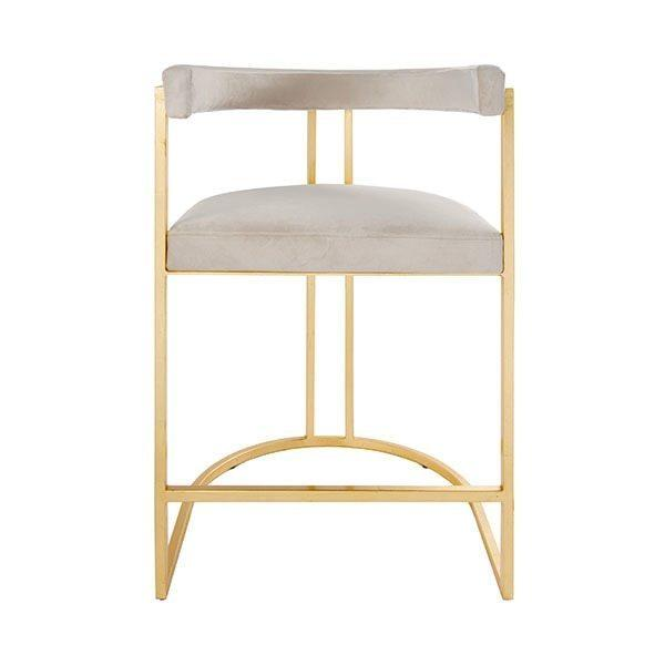 Airy, Refined, and Reminiscent of Old Hollywood, the Cromwell Barrel Back Counter Stool Delivers Modern Glamour To Your Kitchen Island. Luxurious Ivory Velvet Upholstery Rests Gently On A Hand-finished Gold Leaf Frame.
