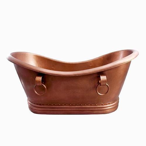 "Bolero 72"" Copper Double Slipper Tub on Base"