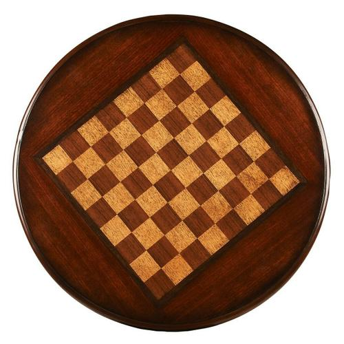 Butler Specialty Company - This charming game table will add fun and sophistication to most any space. Carefully crafted from select hardwood solids and wood products, it features a rich Plantation Cherry finish making up the chess/checker playing surface. This unique game table is the perfect size for any room. The pedestal base allows for table sitting. The hand painted chess/checker board is great for a family game night.