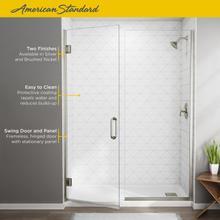 "See Details - Frameless Swing Shower Door with Panel 58-1/16""-59-9/16""  American Standard - Brushed Nickel"