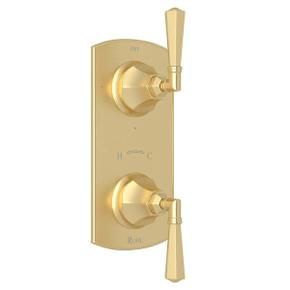 Palladian 1/2 Inch Thermostatic and Diverter Control Trim - Satin Unlacquered Brass with Metal Lever Handle