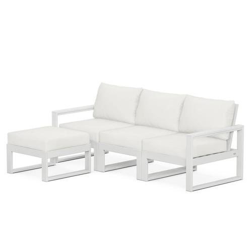 Polywood Furnishings - EDGE 4-Piece Modular Deep Seating Set with Ottoman in White / Natural Linen