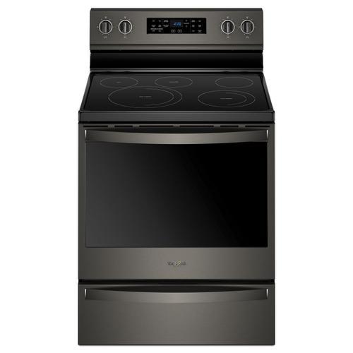Whirlpool - 6.4 cu. ft. Freestanding Electric Range with Frozen Bake™ Technology Fingerprint Resistant Black Stainless
