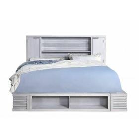 ACME Aromas California King Bed w/Bookcase & Storage - 28114CK - Coastal - Wood (Poplar), Wood Veneer (Oak), MDF, Ply, PB - White Oak