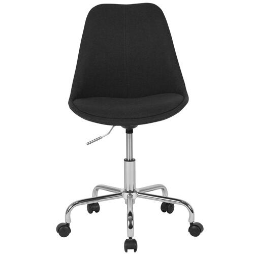 Mid-Back Black Fabric Task Chair with Pneumatic Lift and Chrome Base