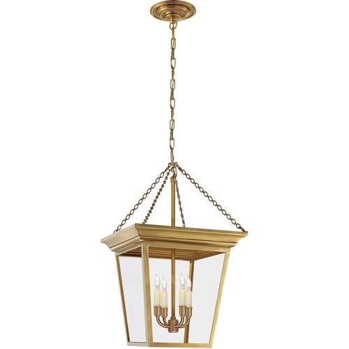 E. F. Chapman Cornice 4 Light 15 inch Hand-Rubbed Antique Brass Foyer Pendant Ceiling Light