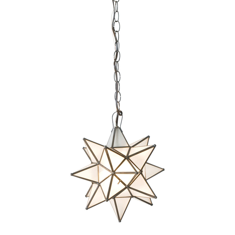 """Whether You Install One or Group Several Together, Our Large 15"""" Diameter Frosted Star Chandelier Brings Beautiful Sparkle To Your Decor Throughout the Day and Night. Each Star Comes Standard With 3' of Chain and Canopy. Additional Chain Length Available for Purchase To Accommodate Your Custom Installation."""