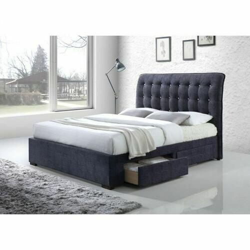 ACME Drorit Queen Bed w/Storage - 25680Q - Dark Gray Fabric