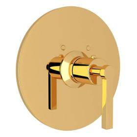 Lombardia Thermostatic Trim Plate without Volume Control - Unlacquered Brass with Metal Lever Handle