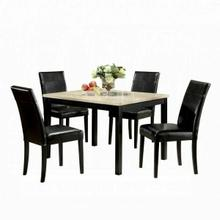 ACME Portland 5Pc Pack Dining Set - 06776 - White Faux Marble & Black