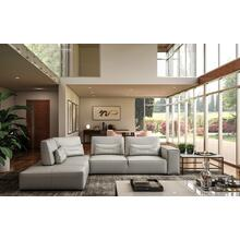 View Product - Accenti Italia Enjoy - Italian Modern Light Grey Leather Left Facing Sectional Sofa