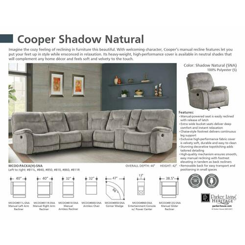 Parker House - COOPER - SHADOW NATURAL Manual Armless Recliner