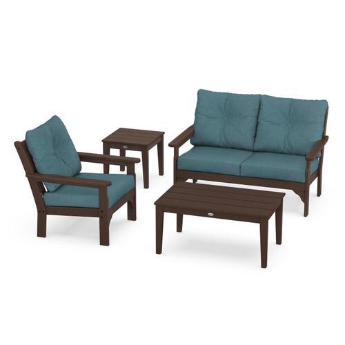 Vineyard 4-Piece Deep Seating Set in Mahogany / Ocean Teal
