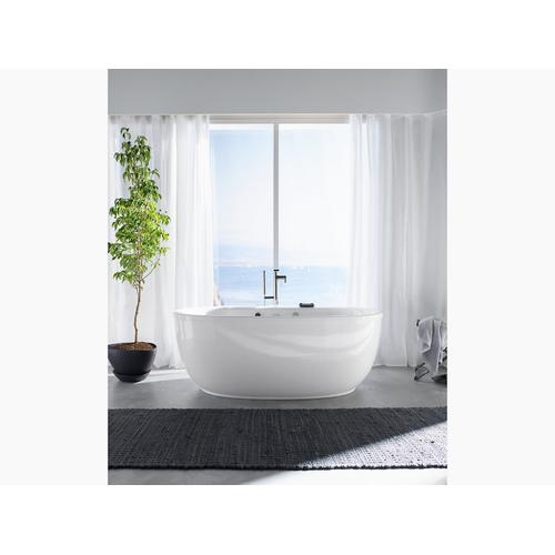 """White 66"""" X 36"""" Oval Freestanding Heated Bubblemassage Air Bath With Fluted Shroud"""