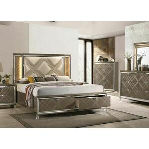 ACME Skylar Eastern King Bed (Storage & LED) - 25317EK - Glam, Contemporary - PU, LED, Wood (Rbw), Paper Veneer (PU), MDF, PB, Acrylic Leg - LED, PU and Dark Champagne