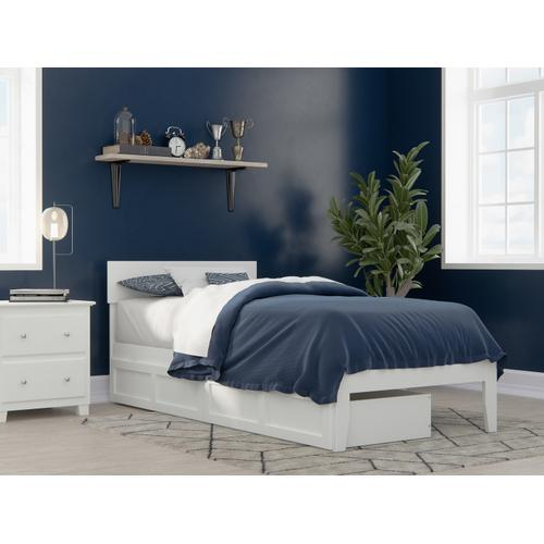 Atlantic Furniture - Boston Twin Extra Long Bed with 2 Extra Long Drawers in White