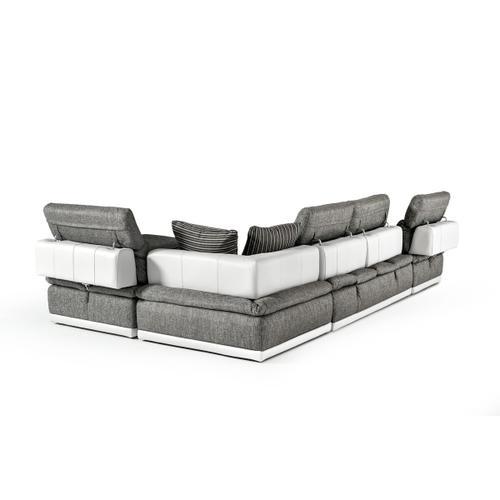 VIG Furniture - David Ferrari Panorama - Italian Modern Grey Fabric + White Leather Modular Sectional Sofa