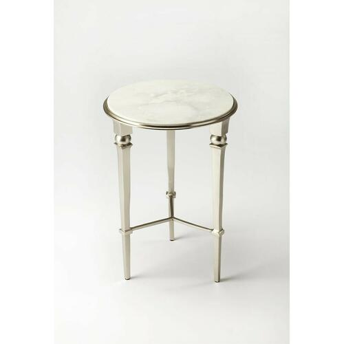 Brushed and polished silver finishes alternate on this fifties-inspired end table. The subtle veins of the white marble top add richness and the simplicity makes for an elegant finishing touch. Even more beautiful in pairs.