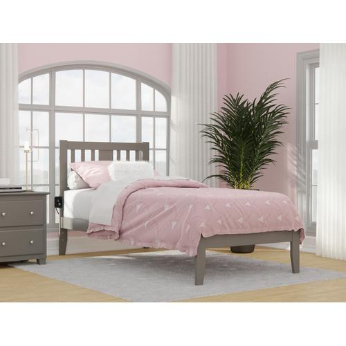 Atlantic Furniture - Tahoe Twin Extra Long Bed with USB Turbo Charger in Grey