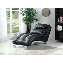 See Details - Contemporary Black Faux Leather Chaise