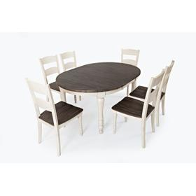 Madison County Round To Oval Table & 6 Chairs Vintage White