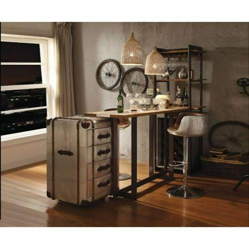 ACME Brancaster Stemware Rack - 70436 - Oak & Antique Black
