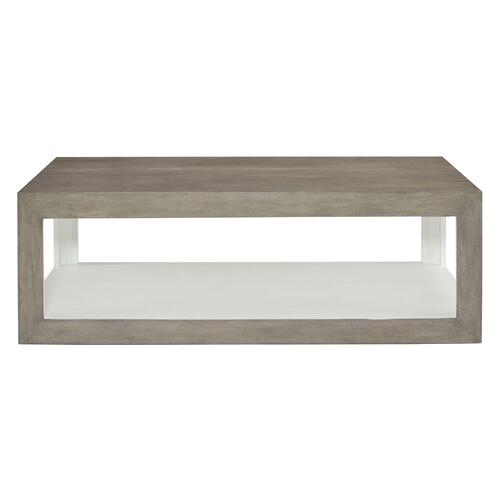 Oldham Cocktail Table in Rustic Gray, White Plaster