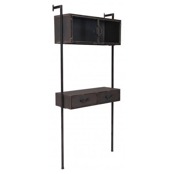 Industrial Wall Desk Distressed Black