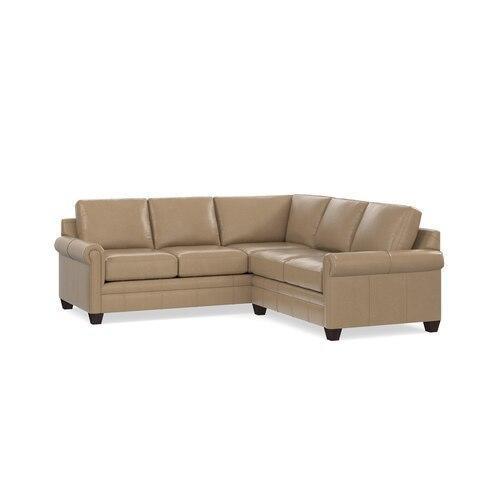 Bassett Furniture - Carolina Leather Panel Arm L-Shaped Sectional