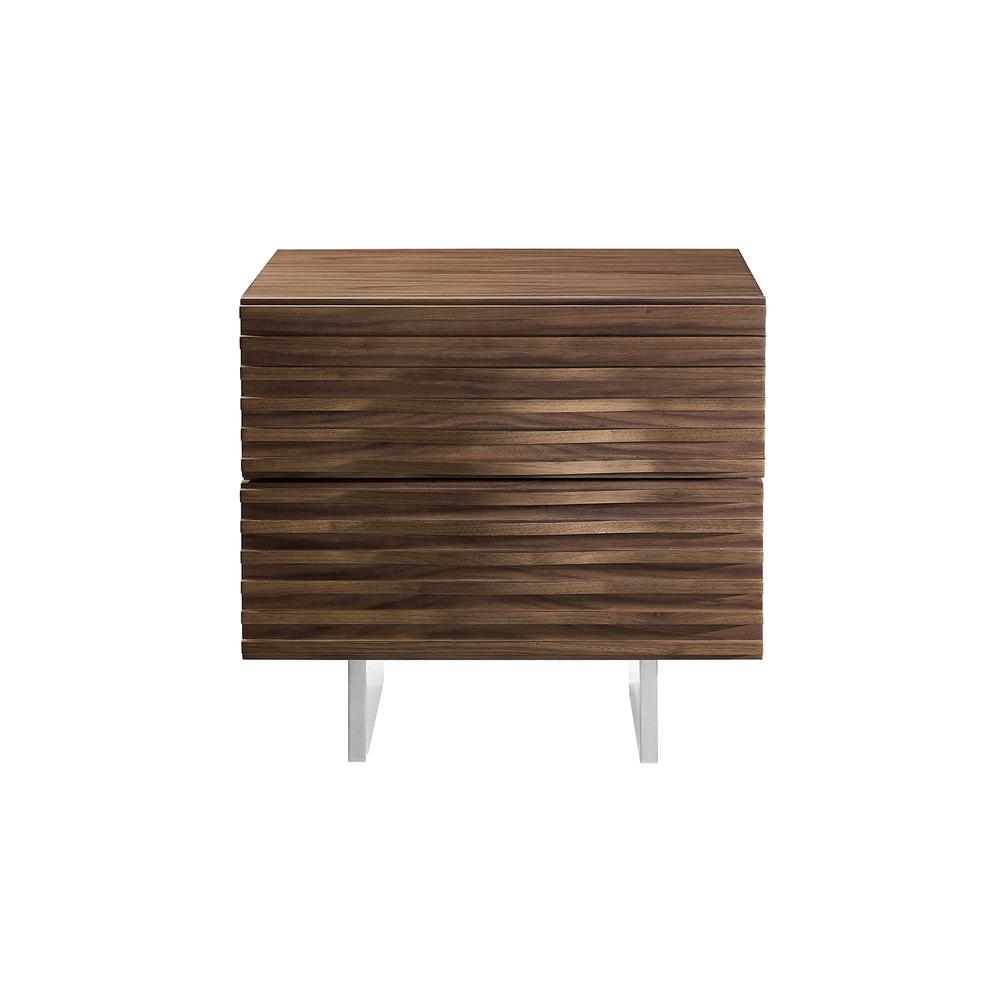 The Moon Nightstand In Walnut Veneer And Brushed Stainless Steel