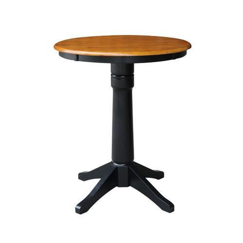 "John Thomas Furniture - 30"" Pedestal Table in Cherry / Black"