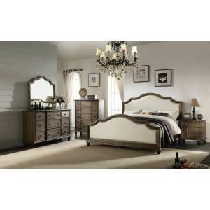 ACME Baudouin Queen Bed - 26110Q - Beige Linen & Weathered Oak