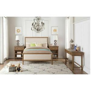 ACME Inverness Twin Bed - 36090T - Beige Linen & Reclaimed Oak