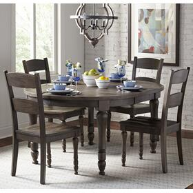 Madison County Round To Oval Table & 4 Chairs Barnwood