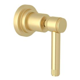 Campo Trim for Volume Control and 4-Port Dedicated Diverter - Satin Unlacquered Brass with Industrial Metal Lever Handle
