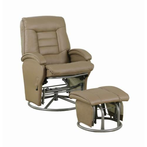 Product Image - Casual Bone Faux Leather Vinyl Reclining Glider With Matching Ottoman