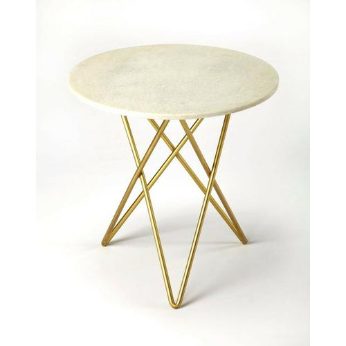 This imitable bunching table is a sleek modern addition in the living room or bedroom. Featuring a cool white marble top, it is beautifully supported by antique brass finished iron in an interlocked hairpin leg base.