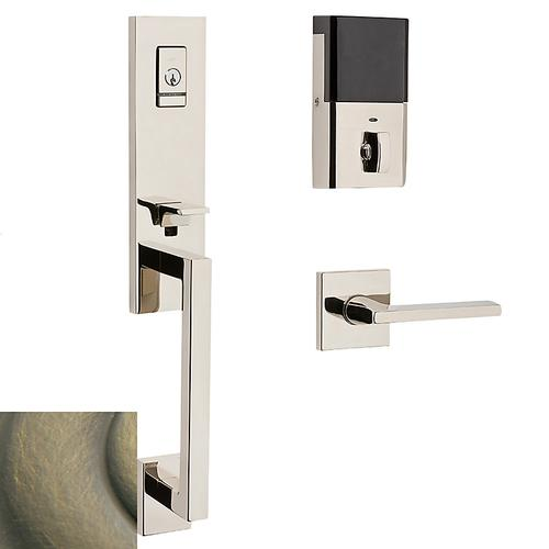 Satin Brass and Black Evolved Minneapolis 3/4 Escutcheon Handleset