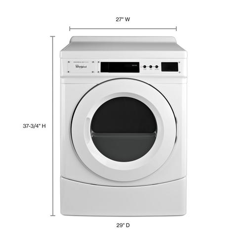 """Whirlpool - 27"""" Commercial Electric Front-Load Dryer, Non-Vend White"""