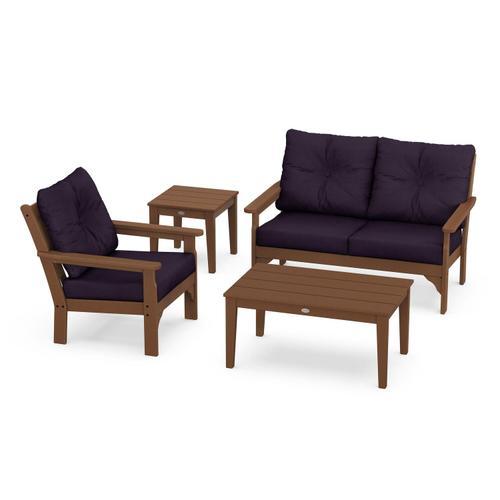Vineyard 4-Piece Deep Seating Set in Teak / Navy Linen