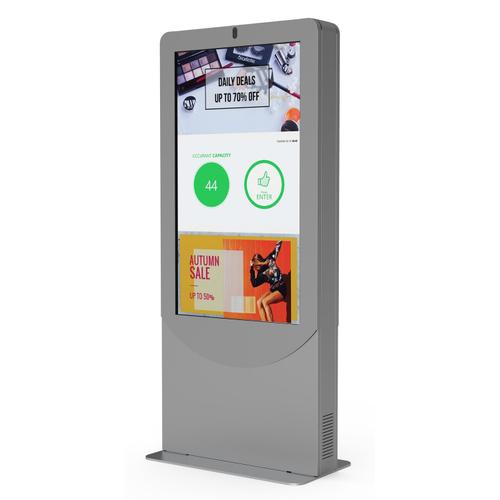 Occupancy Control Kiosk Integrated with a Display, Navori Labs QL 2.2 Digital Signage Software, Media Player, and Web Camera