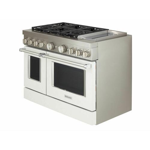 KitchenAid Canada - KitchenAid® 48'' Smart Commercial-Style Dual Fuel Range with Griddle - Matte Milkshake