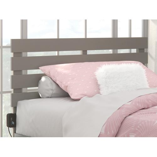 Atlantic Furniture - Oxford Full Headboard with USB Turbo Charger in Grey