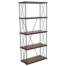 See Details - Antique Wood Grain Finish Four Shelf Bookshelf with Chain Accent Metal Frame