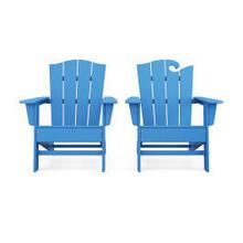 View Product - Wave 2-Piece Adirondack Chair Set with The Crest Chair in Pacific Blue